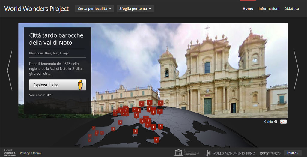 screenshot del progetto google world wonders